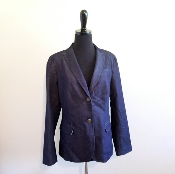 Talbots Jackets & Blazers - Talbots Dark Wash Chambray Nautical Anchor Blazer
